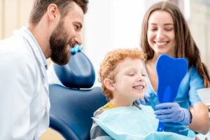young boy in dental chair at family dentist in Gorham
